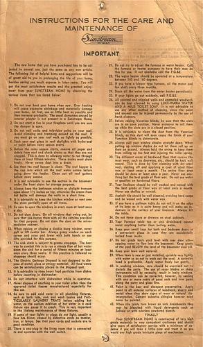 Sunsteam Homes Instruction Manual