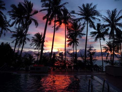 Sunset behind swimming pool, Cassia Cottage