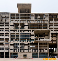 Le Corbusier's Secretariat Building in Chandigarh (ScottLarsen) Tags: travel urban india abstract architecture composition concrete gris one geometry cement best architect planning sector punjab lecorbusier administration corbusier chandigarh modernist select ciam haryana chandi citybeautiful jeanneret unionterritory charlesdouard charlesdouard