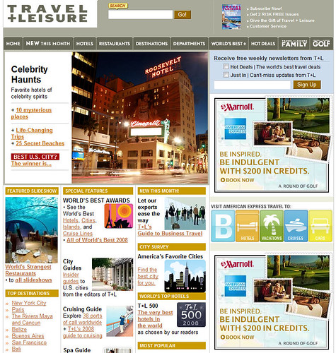 Travel + Leisure Magazine Front Page 10/31/2008