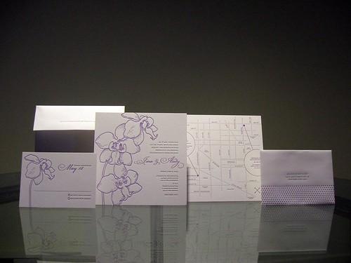 Jina Dots Letterpress Wedding Invitations - Whole Set