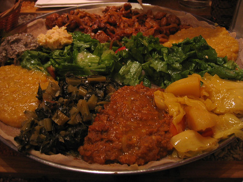 Ethiopian lentils, greens, vegetables and chicken tibs