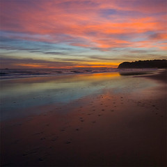 The beach tonight (borealnz) Tags: sunset sea newzealand beach reflections square sand searchthebest nz otago dunedin stkilda bsquare borealnz