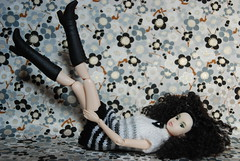 Irina Loves Her New Outfit (Girl Least Likely To) Tags: fashion toys japanese blackwhite dolls vinyl etsy irina ccs whitelion momoko petworks asiandolls closeclippedsheep feltland sunnylingerie handmadeknitdress