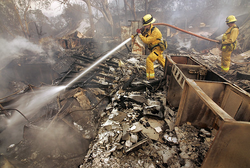 Firefighters at Westmont College (Steve Chawkins, Los Angeles Times)