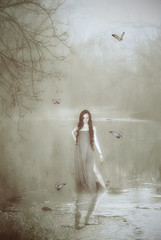 A Time To Reflect. (mikem1115) Tags: reflection tree nature water girl photomanipulation photoshop butterfly woods soft surreal