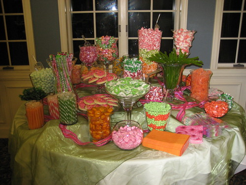 pink orange and green candy buffet