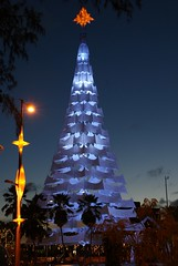 Christmas Tree (Arimm) Tags: road christmas camera blue light sky cloud white tree green freeassociation fotosencadenadas brasil night star surveillance sony lamppost fortaleza cear a200 correntedefotos arimm dslra200