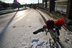 snowy bike lane on Interstate-2