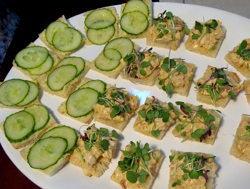 cucumber with mint butter and curried chicken salad tea sandwiches