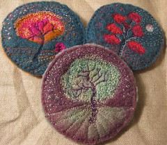 Embroidery On Wool (kayla coo) Tags: tree art landscape artwork handmade embroidery sewing textile handsewn fiberart brooches textileart kaylacoo