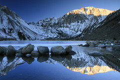 Convict Lake sunrise (bertdennisonphotography) Tags: california blue lake snow mountains reflection ice nature water sunrise canon landscape rocks sierras convict soe easternsierras convictlake monocounty xti impressedbeauty