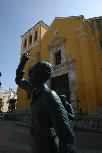 Statue in front of Iglesia de Santísima Trinidad, Cartagena.