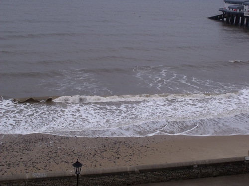 The sea and beach at Cromer - incoming waves