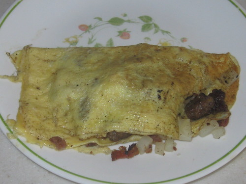 Potato, Bacon, Sausage and Cheese Omelet