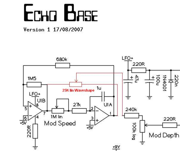 echo base a new pt2399 delay i ve drawn the waveshape pot into a part of the schematic so that everyone can try it