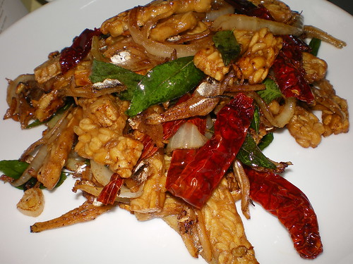 tempe with ikan bilis and dried chillies