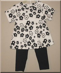 Black n White Floral  2pc Set