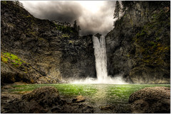 The Power of Water (Extra Medium) Tags: clouds waterfall washington scenery splash snoqualmiefalls hdr snoqualmie tresspassing