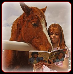 Sharing A Horse Story (mikenpo) Tags: pictures red sky horse white fence book interesting daughter read story harmony fabulous soe cubism fpc goldenglobe mywinners platinumphoto anawesomeshot flickrenvy superbmasterpiece platinumheartaward goldstaraward life~asiseeit readingovertheshoulder