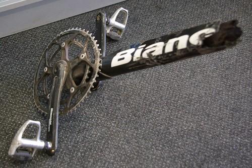 Bianchi Down Tube &  Cranks