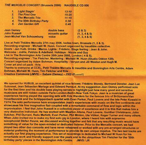 Jean-Michel Van Schouwburg - Jean Demey - John Russell | The Mercelis Concert (Brussels 2006) ; inside 2