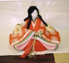 lady in red (absolutejapan) Tags: old blue original flower kitchen amsterdam painting japanese miniature doll hand silk made kimono anton empress kit 12 camellia dye kimekomi pieck papertole