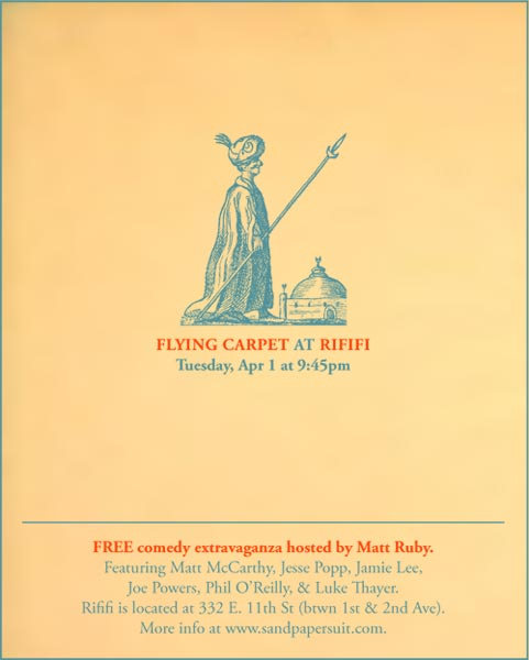 Flying Carpet: April 1 at Rififi