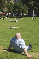 Hombre calvo en el parque