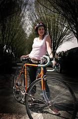 Rhymes With Sass (Bhlubarber) Tags: road portrait orange woman classic girl bike bicycle vancouver race vintage girlfriend ride sandra helmet style drop cycle apollo nutcase tenspeed davidniddrie