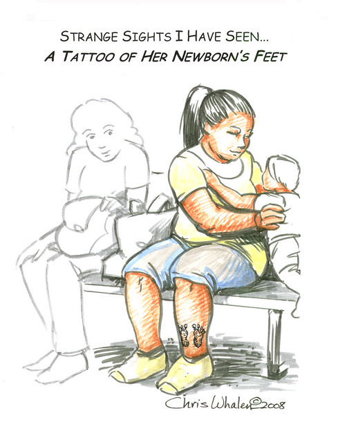 Tattooed Mom. Faber Castell Pitt Artist pen brushes on Clairfontaine paper.