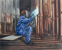 Shutdown Process - Colored Pencil Drawing (beautyinmetal) Tags: plant ontario color colour metal pencil power drawing welding weld tubes coal coloured generation boiler welder