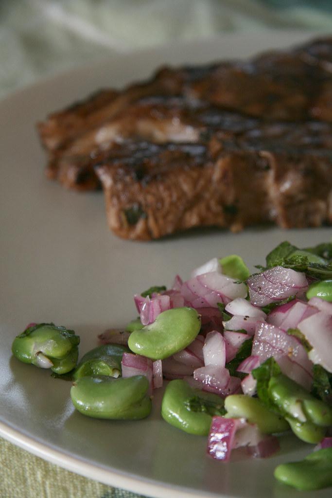 Fava Bean Salad with Marinated Lamb