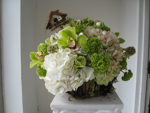 Centerpiece, Centerpiece ion Bird Nest Basket Wedding Decoration. green and white hydrangea, cymbidium orchids, viburnam, roses, wedding invitation, flowers, photos