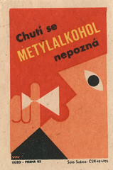 czechoslovakian matchbox label (maraid) Tags: food glass warning czech prague drink praha alcohol packaging czechrepublic 1960s 1962 homebrewing czechoslovakia czechoslovakian matchboxlabel methanol solosusice uuzo