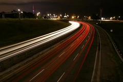 Eastward on Jameson Ave (Jim U) Tags: toronto night highways gardinerexpressway sony100 minolta20mm28 blogtombjuly28aug12008