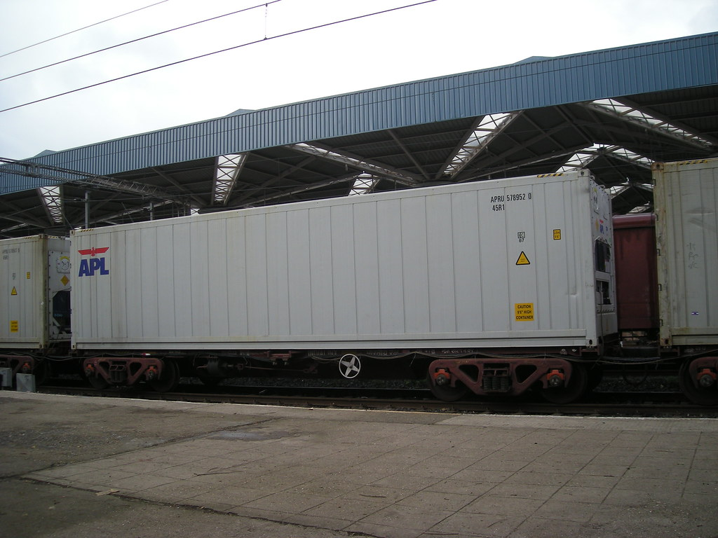 Refrigerated container transported by rail