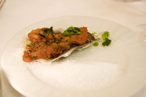 Fried Totten Oyster with a nectarine mignonette