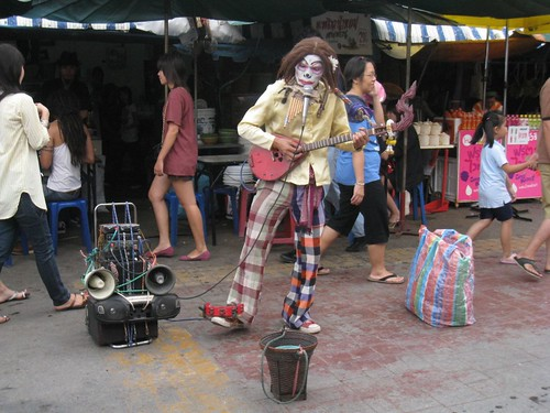 Street performer at the market
