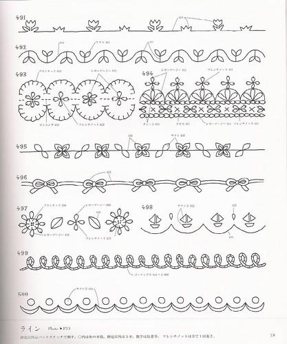 Embroidery one-point stitch hajimete no shishiyuu wampointo sutetsuchi 500 wan pointo asahi orijinaru ASAHI ORIGINAL ISBN 9784021904097 border examples