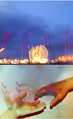 la foule (miss sundress) Tags: carnival blue sky wheel yellow lights hands funfair