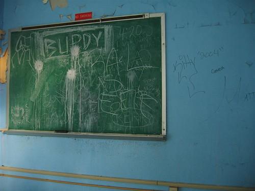 Chalkboard graffiti in the computer room