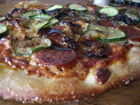 Zucchini Pepperoni and Caramelized Onions