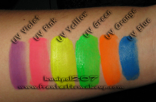Kryolan UV Day Glow Palette Swatches - Flash