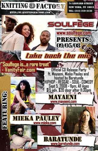 Soulfege Take Back The Mic CD Release - Sept 5 NYC - w Baratunde, Mieka, & Mayaeni