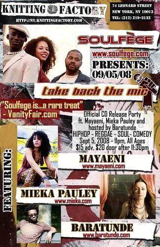 Soulfege Take Back The Mic CD Release - Sept 5 NYC - w Baratunde, Mieka, & Mayaeni