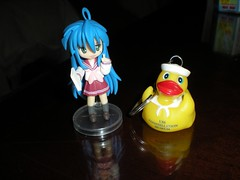 Konata & A Rubber Duckie (neshachan) Tags: md maryland baltimore otakon rubberduckie ussconstellation baltimoremd animeconvention konata  animefigurine otakon2008 fridayotakon2008 ussconstellationmuseum