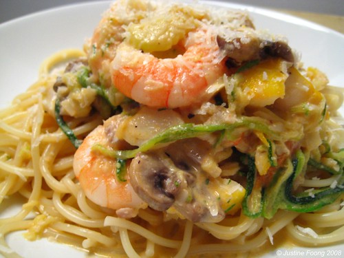 Spaghetti with Smoked Haddock and Prawns