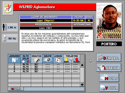 Wilfred Agbonavbare, portero del Rayo Vallecano en PC Fútbol 2.0