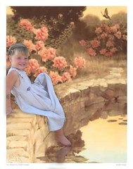 Vintage Grace (picture_them_perfect) Tags: flowers reflection water girl vintage photo pond manipulation well fantasy childrens enchanted bessie pease carnations gutman